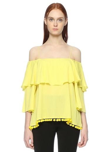 Alice+Olivia Kayık Yaka Askılı Fırfırlı Bluz Sarı